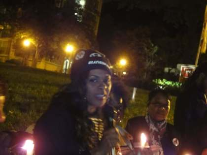 Gina Best, mother of India Kager, killed by Virginia Beach police, at vigil for Alonzo Smith in DC.